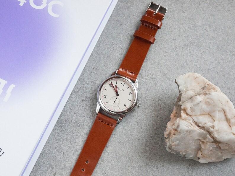 Shinki Hikaku Whiskey Shell Cordovan Leather Watch Strap, 18mm, 20mm, 22mm  (Free Shipping)