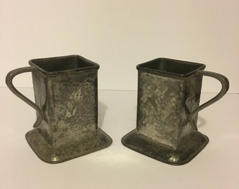 Vintage RARE Hammered Square Pewter Cups - Sheffield England
