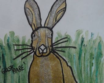 A GASK HARE--a mixed media painting