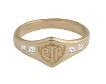 Wide Mini 14kt CTR Choose The Right Ring with 4 diamonds
