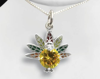 Sterling Silver or 14KT Cute Turkey with CZ for Necklace