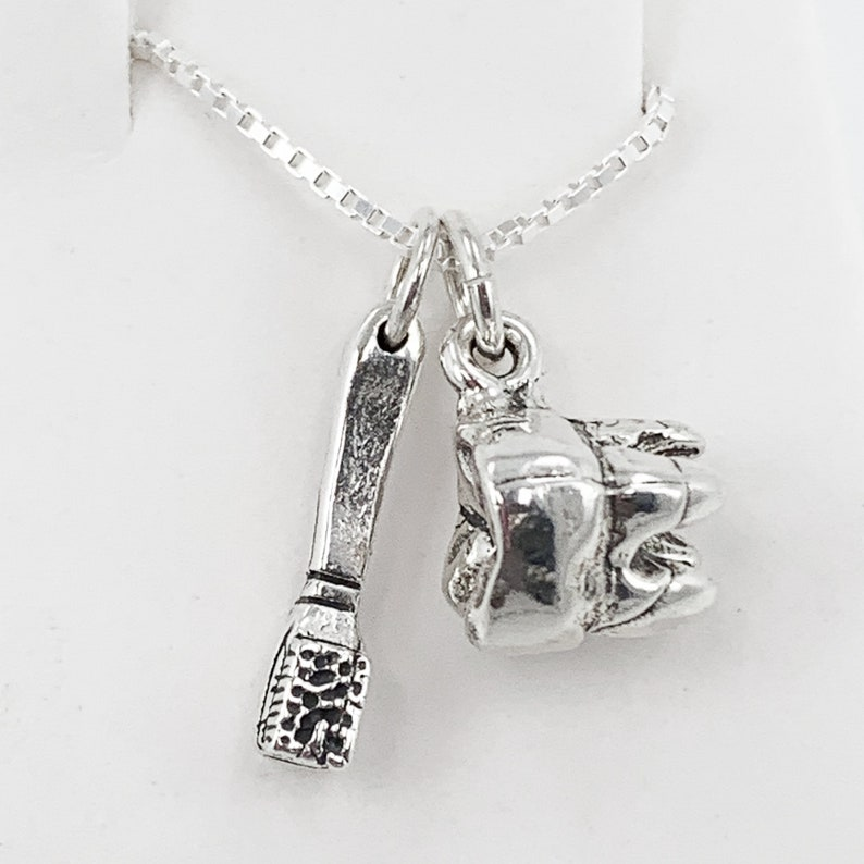 Tooth and Toothbrush Charms Sterling Silver Dental Charm  Necklace