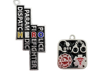 First Responder Hero Charms for Necklaces. Dispatch, Paramedic, Firefighter, Police
