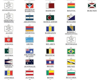A-B Flags of the World, Country Flags, Territory Flags, Necklace, Charm