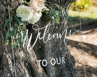 Wedding Welcome Sign | Clear Acrylic Wedding Sign Large | Modern Wedding Decor | Personalized Sign for Wedding Ceremony - SS-189