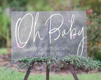 Boho Baby Shower Welcome Sign | Oh Baby Shower Sign | Customize With Your Names And Date