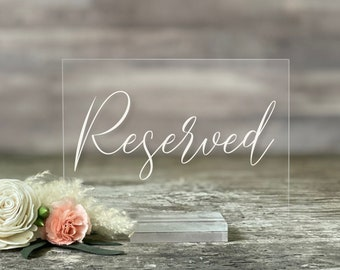 Acrylic Wedding Reserved Signs, Reserved Table Sign, Wedding Reserved Signs, Acrylic Signs, Reserved Sign for Wedding - SCC-220