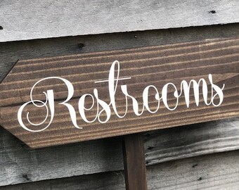 Wedding Restrooms Sign | Restrooms Directional Arrow Sign | Wood Wedding Sign | Restroom Sign Arrow | Bathroom Sign WS-63
