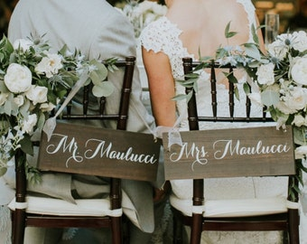 Wedding Chair Signs   Wedding Chair Sign   Chair Signs   Bride and Groom Signs   Rustic Wedding Signs   Mr and Mrs Signs - WS-172