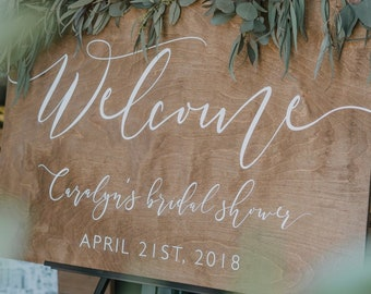 Wood Bridal Shower Welcome Sign | Wedding Shower Sign | Baby Shower Welcome Sign | Engagement Party Sign | Wood Wedding Signs - WS-273