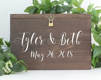 Wedding Card box with Slot Wood Wedding Card Box with Lid