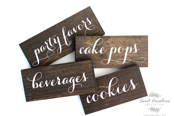dessert table wooden labels wedding signs candy buffet etsy