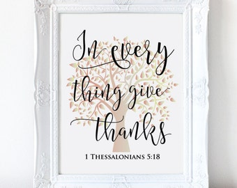 Thanksgiving Printable - Thanksgiving Wall Art - Give Thanks - Instant Download - 8x10