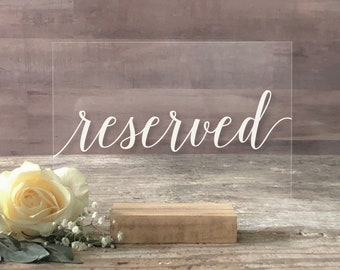 Acrylic Wedding Reserved Signs, Reserved Table Sign, Wedding Reserved Signs, Acrylic Signs, Reserved Sign for Wedding - SCC-221