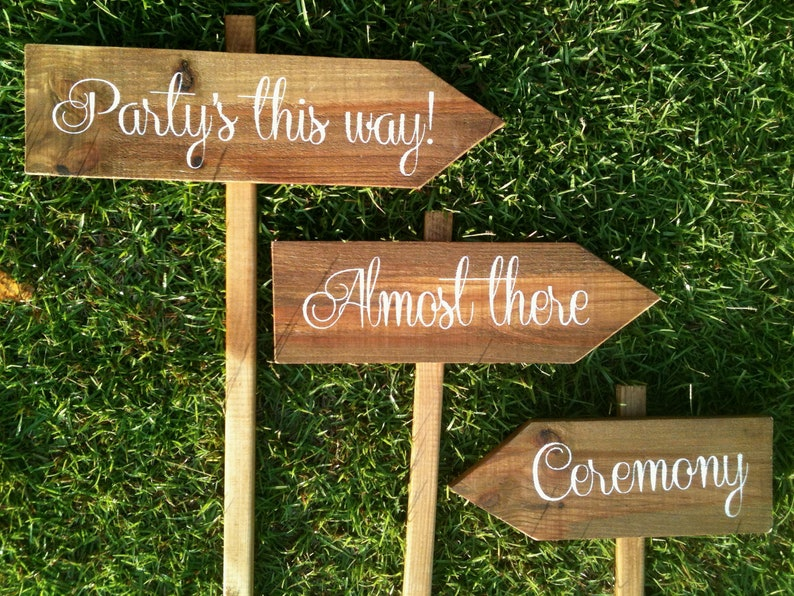 Wooden Wedding Signs.Personalized Wooden Wedding Signs Rustic Wedding Signs Ceremony Signs Reception Signs Set Of 5 Mix And Match Ws 131