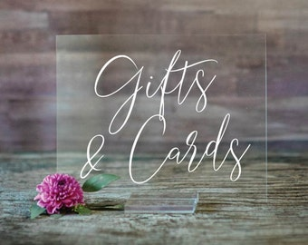 Gifts and Cards Acrylic Sign   Gifts and Cards Sign   Lucite Gifts and Cards Sign   Wedding Signs   Acrylic Wedding Signs Cards Sign SCC-63