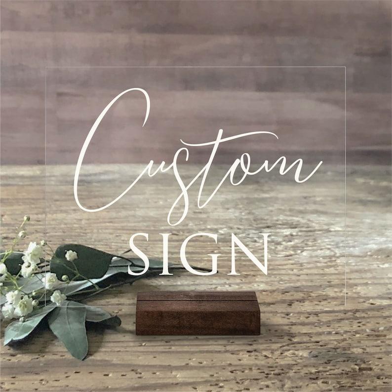 Acrylic Wedding Sign  Custom Acrylic Wedding Sign  Custom Dark Walnut