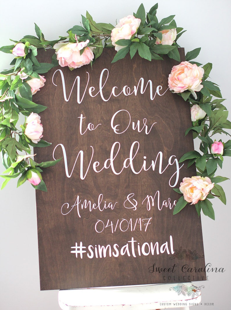 Wedding Welcome Sign.Wedding Welcome Sign With Hashtag Wedding Signs Wooden Wedding Signs Rustic Wood Wedding Sign Ws 245