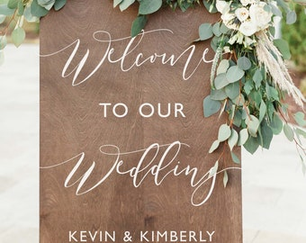 Welcome to our Wedding Sign | Wedding Welcome Sign Wood | Welcome Wedding Sign | Rustic Welcome Sign | Wood Welcome Sign - WS-272