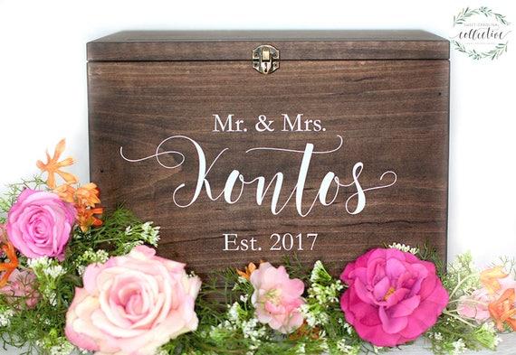 Wedding Card Box Ideas Wedding Card Box With Slot Wood Etsy