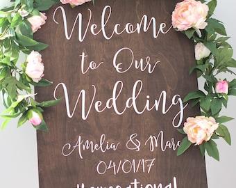 Wedding Welcome Sign with Hashtag - Wedding Signs - Wooden Wedding Signs - Rustic Wood Wedding Sign - WS-245