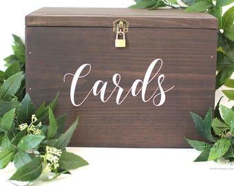 Wedding Card Box   Card Box with Lid and Lock   Wedding Card Holder   Rustic Card Box   Rustic Wedding Box   Custom Card Box - WS-255