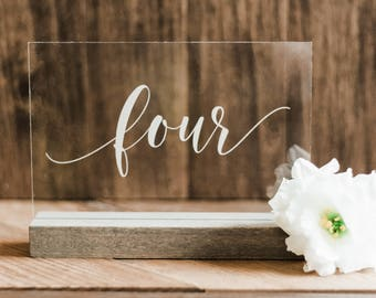 Acrylic Table Numbers Wedding Table Number Table Numbers Lucite Table Numbers Acrylic Wedding Signs Acrylic Lucite - AS-2