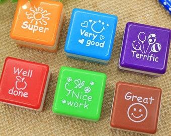 Teacher Stamps Self Inking Stamp Set School Reward Stationery Tool WR174