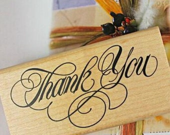 Thank You Stamp Stamp Wood Rubber Stamp Gift Card Decor Stamp Message Stamp Art font  Thanksgiving Deco –  WR14205
