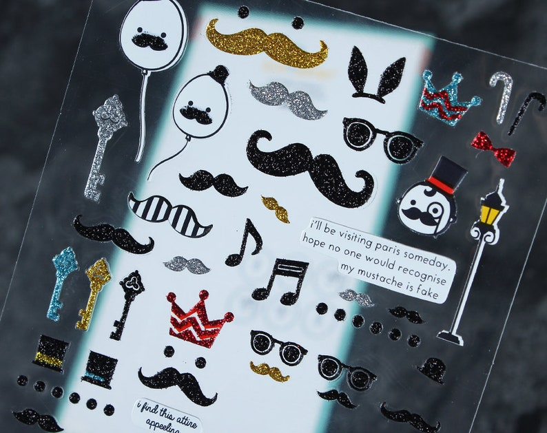Transparent Beard Sticker, DIY Sticker, Scrapbooking,Card Making, Filofax,  Cell Phone Sticker, Deco Sticker - WF02629