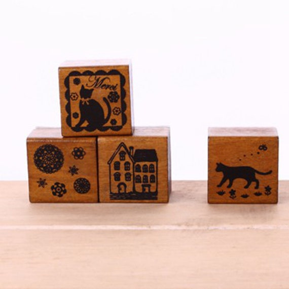 Wooden Stamps Cat Print Stamps Kids Cat Stamps Planning Stamps Office Stamps Bespoke Stamps Planner Stamp Set Filofax Stamps Diary Stamps