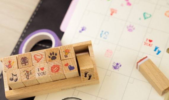 filofax Bullet Journal Stamps Wooden Rubber Stamp Set With Box Planner Stamp Set \u2013 WF00522