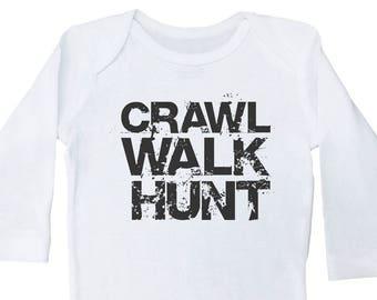 e4dc23fb1567 Funny Hunting Onesie, Crawl Walk Hunt, Hunting Baby Onesie, Baby Shower  Gift, Newborn Hunting Clothing, Long Sleeve Baby Hunting Onesie