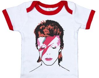 0429ffc66 David Bowie Inspired Ringer Onesie, Ziggy Stardust Onesie, Bowie Onesie,  BOWIE, David Bowie Baby Bodysuit, Newborn Bowie Outfit, glam Rock