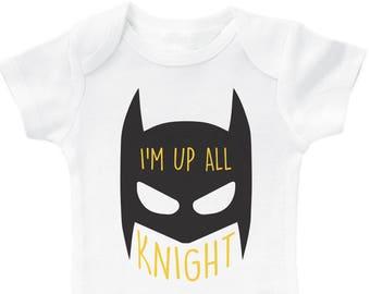 a72ae2a86 Funny Batman Inspired Onesie, I'm Up All Knight, Super Hero Onesie, Batman  Baby Romper, Batman Bodysuit, Unisex Baby Onesie, Batman Onesie