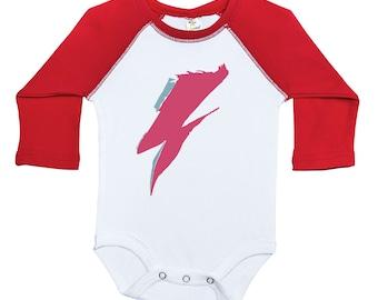 c340219f4 David Bowie Inspired Raglan Onesie, Ziggy Stardust Onesie, Bowie Onesie,  BOWIE STRIPE, David Bowie Baby Bodysuit, Newborn Bowie Outfit, glam