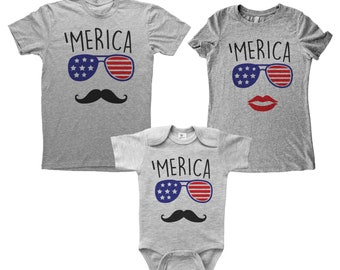 8c3fd79a9 MERICA Parents and Baby BOY Bundle, Unisex T-Shirt, Women's Tee, Grey  Shirt, Mommy Daddy and Me, Family Set, July 4th, Independence Day, USA