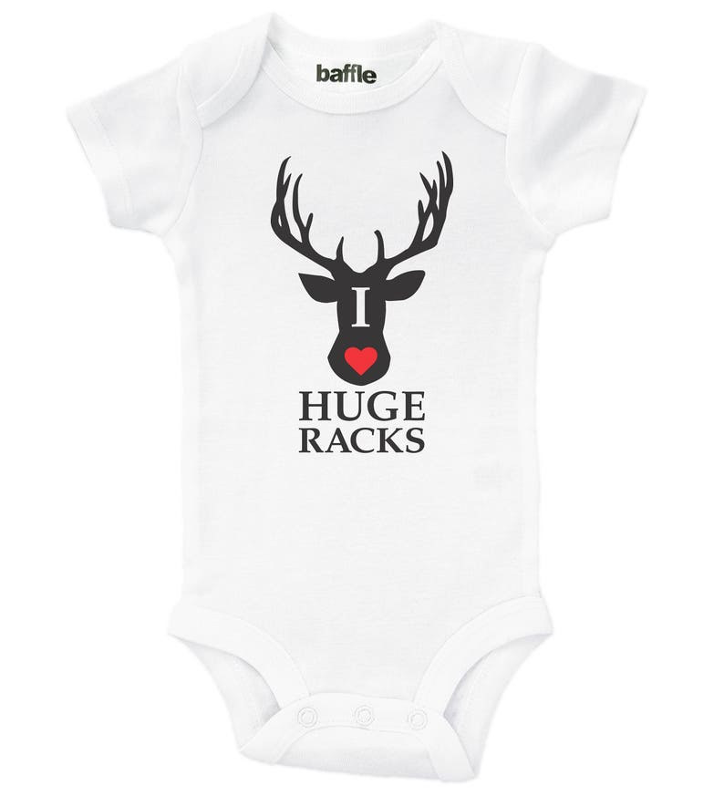 33d1fbad465b4 Funny Hunting Onesie / I Love Huge Racks / Funny Hunting and   Etsy