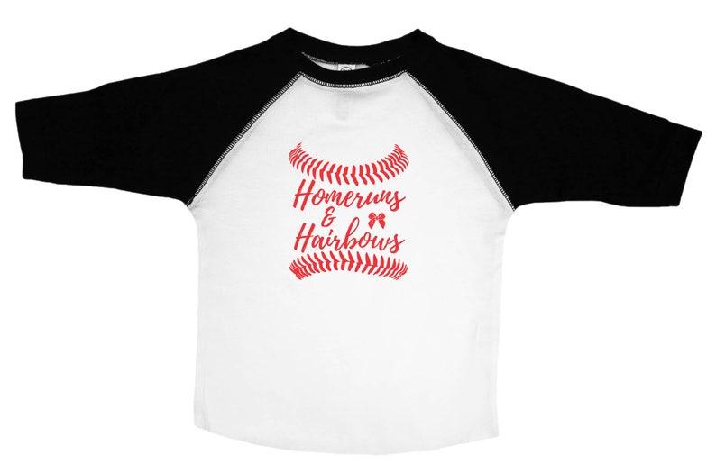 618b6ad7c Girls Baseball Tee Homeruns and Hairbows Baseball Girl | Etsy