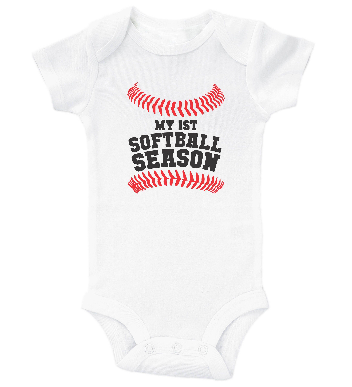 4507607b2 Baby Softball Onesie My 1st Softball Season Softball Baby | Etsy
