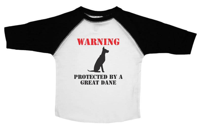 Kids Dog Tee  WARNING Protected By A Great Dane  Funny Pet Lover Shirts for Kids  Kids Tees  Toddler Clothes  Funny Pet Shirts for Kids