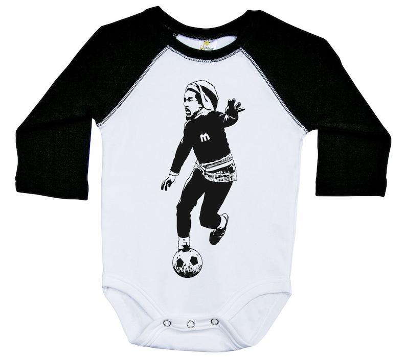 8f5f88cd39af Bob Marley Raglan Onesie Soccer Bodysuit Legend Onesie Baby