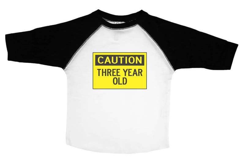 Third Birthday Shirt Caution Three Year Old 3 Yr Shirts