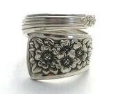 Spoon Ring Silver Belle 1940 aka Snowdrop, the birth flower for January birthdays Vintage Silverware Jewelry teaspoon