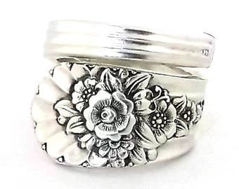 Spoon Ring Jubilee 1953 Vintage Silver Jewelry Silverware Handle Anniversary Birthday Gift Rose Daisy Sunflower Snowdrop Flower Floral