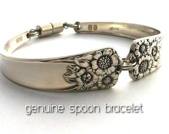Spoon Bracelet April 1950 Sunflower Vintage Silverware Jewelry Antique Silver Upcycled Flatware Handle Braclet Kansas State Flower Pure Love