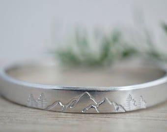 Silver Mountain Cuff - Stackable Bracelet - Stamped Cuff - Outdoor Lovers - Gift for Her - Stocking Stuffer - Teacher Gifts - Handstamped