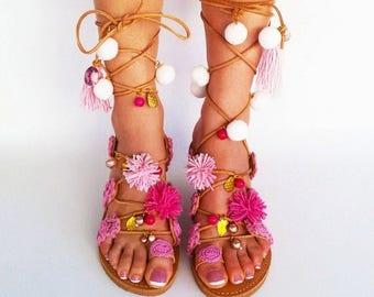 Pom Pom Sandals, Tie up Gladiator Sandals, Boho Leather sandals, Greek sandals, Leather sandals, Pink sandals ''Sugar Darling''