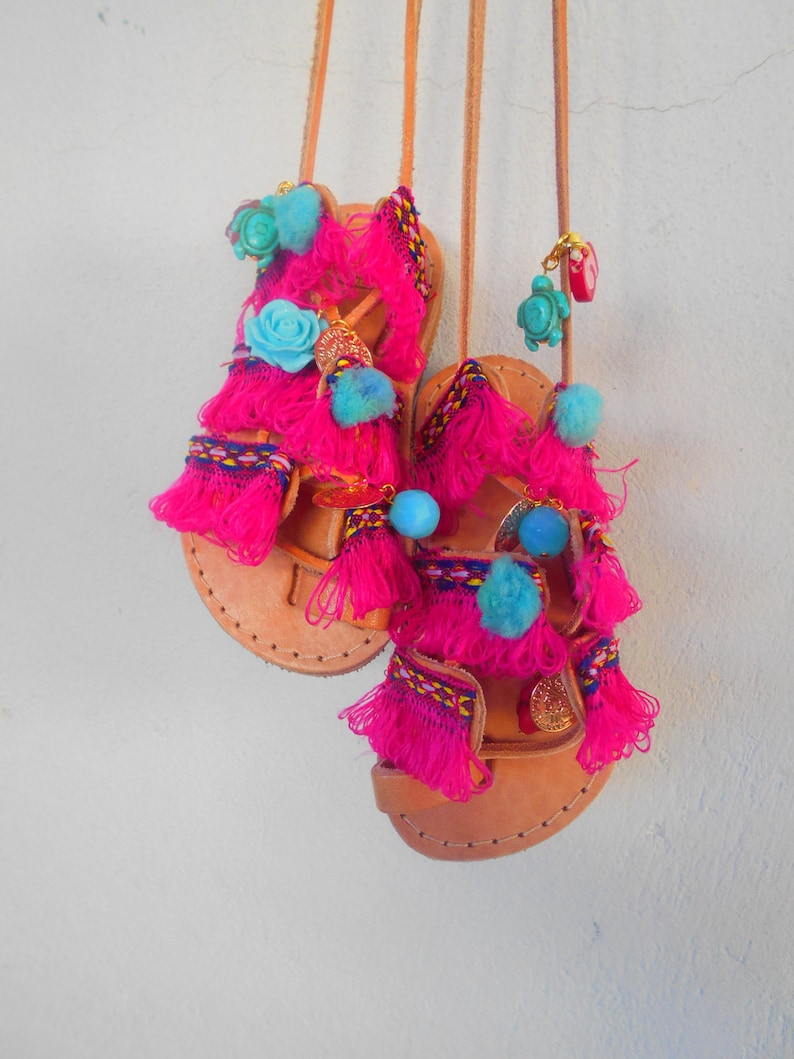 1a9c5ceaccf17 Girls Pom Pom Sandals, Kids Tie Up Gladiator Sandals, Fuchsia Baby Lace up  Sandals ''Boho Princess''