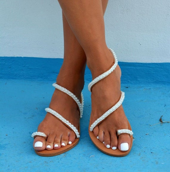 White pearl sandals Luxurious sandals